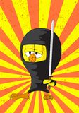 ninja цыпленока шаржа Стоковое Изображение