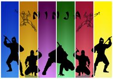 Ninja. Varicoloured background with the silhouettes of ninja Stock Image