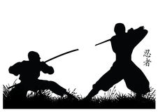 Ninja. Illustration of two ninja silhouettes Royalty Free Stock Images