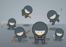 Ninja. Squad ready for action, different weapons available Royalty Free Stock Images