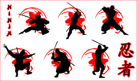 Ninja. Vector illustration of ninja icons Royalty Free Stock Photography