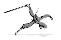 Ninja in Action. Illustration of ninja fighter in action with sword Stock Photo