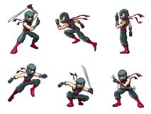 Ninja in Actions 01. An  ninja warrior in various poses Stock Photography
