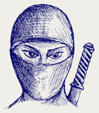 Ninja assassin. Doodle style. Sketch vector Stock Photography