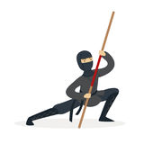 Ninja assassin character in a full black costume fighting with bamboo sword in his hand, Japanese martial art vector. Illustration on a white background Stock Photos