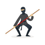 Ninja assassin character in a full black costume fighting with bamboo training sword in his hand, Japanese martial art Stock Photo