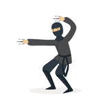 Ninja assassin character in a full black costume fighting with claws, Japanese martial art vector Illustration Stock Image