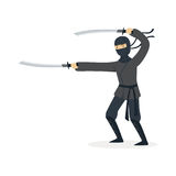 Ninja assassin character in a full black costume fighting with katana swords, Japanese martial art vector Illustration. On a white background Stock Photos