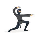 Ninja assassin character in a full black costume fighting with stainless claws, Japanese martial art vector Illustration. On a white background Stock Photo