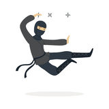 Ninja assassin character in a full black costume jumping and throwing shurikens, Japanese martial art vector Stock Images