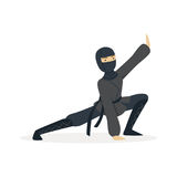 Ninja assassin character in a full black costume standing in a combat pose, Japanese martial art vector Illustration Stock Image