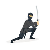 Ninja assassin character in a full black costume standing in a combat pose with katana sword, Japanese martial art Royalty Free Stock Images