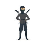 Ninja assassin character in a full black costume standing with katana swords behind his back, Japanese martial art. Vector Illustration on a white background Royalty Free Stock Photo