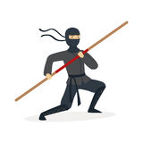 Ninja assassin character in a full black costume training with bamboo sword in his hand, Japanese martial art vector Royalty Free Stock Photo