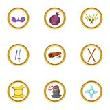 Ninja assassin icon set, cartoon style Royalty Free Stock Photo