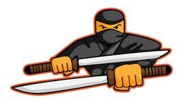 Ninja Attack avec la bande dessinée d'épées Photo libre de droits