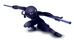 Ninja avec le poteau Photo libre de droits