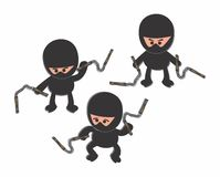 Ninja black cartoon set Royalty Free Stock Photo