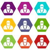 Ninja in black mask icon set color hexahedron. Ninja in black mask icon set many color hexahedron isolated on white vector illustration Royalty Free Stock Image