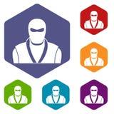 Ninja in black mask icons set hexagon. Isolated vector illustration Stock Photography