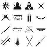 Ninja black simple icons set Stock Photography