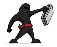 Ninja businessman holding a business portfolio Royalty Free Stock Image