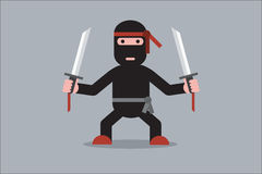 Ninja Cartoon Character vektor illustrationer