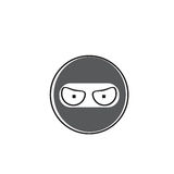 Ninja Cartoon Face Wear Mask People Emotion Icon. Vector Illustration Royalty Free Stock Photo