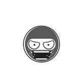 Ninja Cartoon Face Wear Mask People Emotion Icon. Vector Illustration Royalty Free Stock Photography