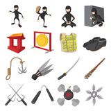 Ninja cartoon icons set Stock Images