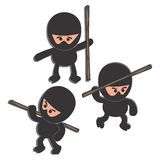 Ninja cartoon set character Royalty Free Stock Image