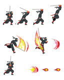 Ninja Cat Game Sprite. Cartoon Illustration of Animation Sequence for Game Sprite Royalty Free Stock Photography