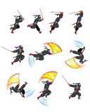 Ninja Cat Game Sprite. Cartoon Illustration of Animation Sequence for Game Sprite Royalty Free Stock Photos