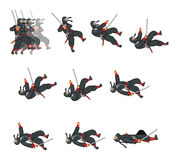 Ninja Cat Game Sprite. Cartoon Illustration of Animation Sequence for Game Sprite Royalty Free Stock Images