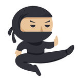 Ninja character. Serious ninja jumping. Flat style vector illustration. Ninja character. Serious ninja jumping. Flat style vector illustration Royalty Free Stock Photo