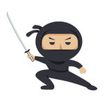 Ninja character. Serious ninja with sword. Flat style vector illustration. Ninja character. Serious ninja with sword. Flat style vector illustration Royalty Free Stock Photo