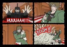Ninja comic scene Stock Photos