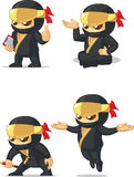 Ninja Customizable Mascot 10. A vector set of ninja in several poses. Drawn in cartoon style, this vector is very good for design that need ninja element/mascot Stock Photos