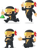 Ninja Customizable Mascot 12. A vector set of ninja in several poses. Drawn in cartoon style, this vector is very good for design that need ninja element/mascot Stock Image