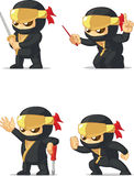 Ninja Customizable Mascot 16. A vector set of ninja in several poses. Drawn in cartoon style, this vector is very good for design that need ninja element/mascot Stock Photo