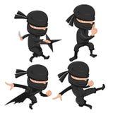 Ninja Cute Character Cartoon uppsättning royaltyfri illustrationer