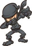Ninja de toque ligeiro dos desenhos animados com terno preto ilustração do vetor