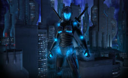 Ninja del cyborg Fotografia Stock Libera da Diritti