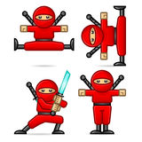 Ninja in different poses. Composition ninja in different poses, format EPS 10 Royalty Free Stock Images