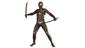 Ninja en la armadura a prueba de balas que lucha con dos espadas del katana, guerrero aislado en blanco Foto de archivo libre de regalías