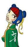 ninja för tecknad filmteckengal. royaltyfri illustrationer