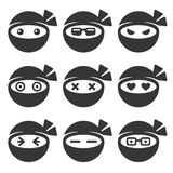 Ninja Face Icons Set Lizenzfreie Stockfotografie