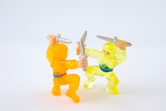 Ninja Fight. Two Ninjas on White Background Stock Photos