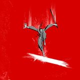 Ninja Fighter. Illustration of ninja fighter attacking with sword on grungy background Royalty Free Stock Photo
