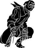 Ninja fighter - vector illustration. Vinyl-ready. Royalty Free Stock Photo